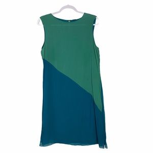 Elite Tahari Silk Asymmetrical Colorblock Dress 10